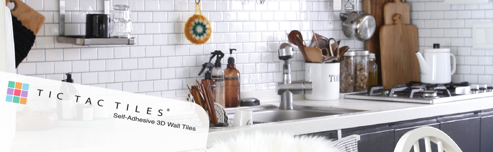 Tic Tac Tiles Peel and Stick 3D Backsplash