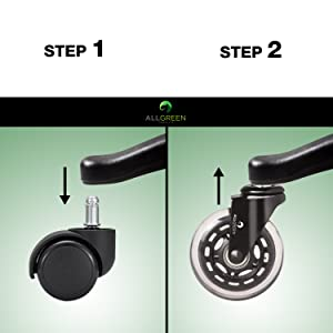 ALLGREEN Gaming Chair Wheels & Office Chair Caster Wheels 5 pcs Replacement Set Casters Heavy Duty Easy Installation and Universal Fit Smooth Rolling Rollerblade swivel Glider Safe for All Floors…
