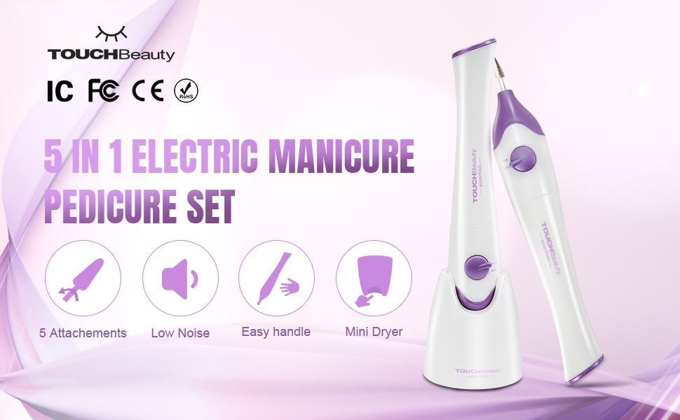 OUCHBeauty Nail File Manicure/Pedicure Set with UV Light Dryer,
