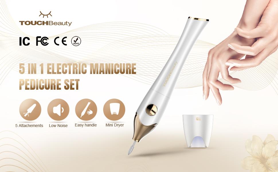 TOUCHBeauty Nail File Manicure/Pedicure Set with UV Light Dryer
