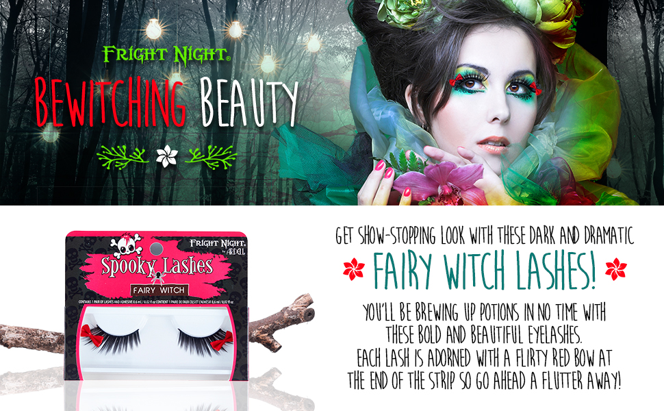 12ccba102fd Fright Night False Lashes, Fairy Witch fake eyelash with red bow for ...