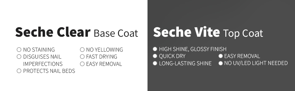 Seche Clear and Seche Vite Bundle, Base Coat and Top Coat pack
