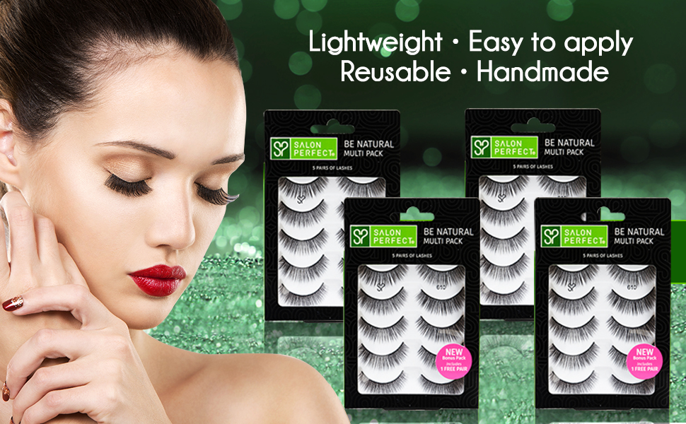 ccced8d6c54 Amazon.com : Salon Perfect 610 Handmade Fake Eyelashes Multipack (5 ...