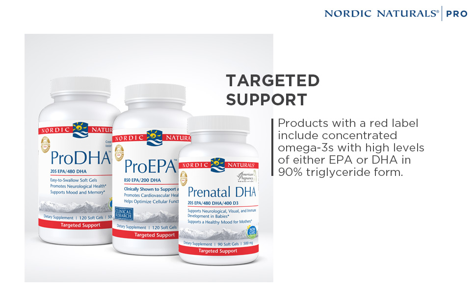 Targeted Support for concentrated omega-3s with high levels of EPA or DHA