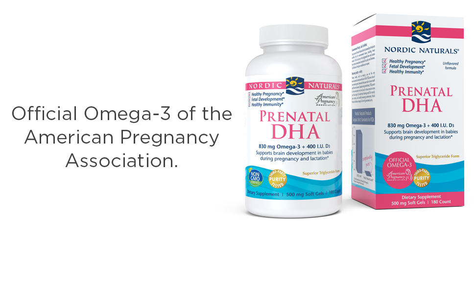 Official Omega-3 of the American Pregnancy Association. Prenatal DHA 180ct unflavored box and bottle