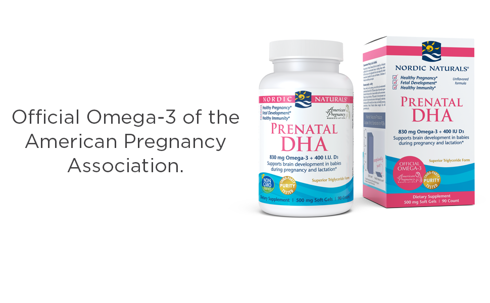 Official omega-3 of the american pregnancy association. Prenatal DHA unflavored 90ct bottle and box