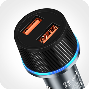 TORRAS Fast Car Charger Adapter USB QC 3.0 36W Non Slip, [High End Metal] Cigarette Lighter USB Charger Adapter Work for iPhone 11 Pro Max XR X Xs 8