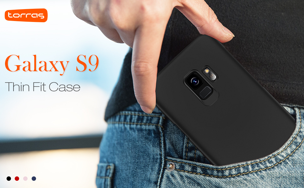 TORRAS Slim Fit Galaxy S9 Case (2018), Hard Plastic Ultra Thin Phone Cover Matte Finish Grip Case for Samsung Galaxy S9, Space Black