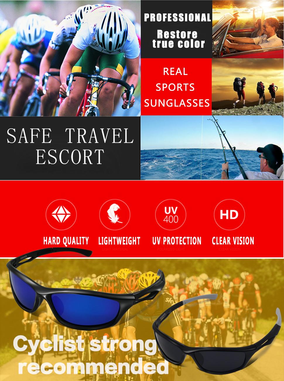 Amazon.com: COSVER Polarized Sports Sunglasses for Men Women Cycling ...