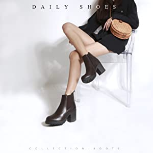 Details about  /Women Casual Chunky Heels Ankle Boots Lace Up Party Shoes Big Size US18 Ske15