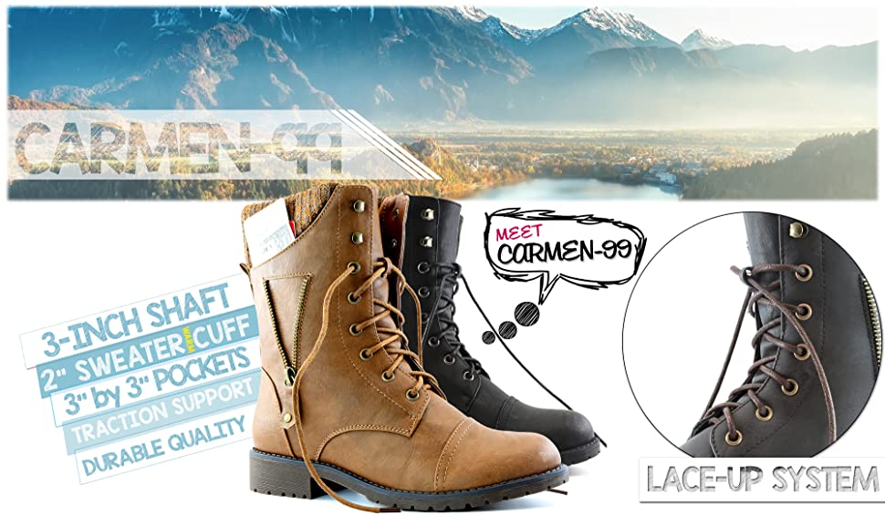 Amazoncom Dailyshoes Womens Military Up Buckle Combat Boots