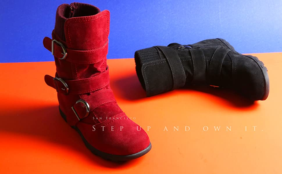 Details about  /Womens Buckle Cuffed Snow Boots Wedge Mid Heels Pull On Fur Lined Mid Calf Ths01