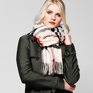 625030 Trench Fraas Plaid Scarf Woven Womens Wrap