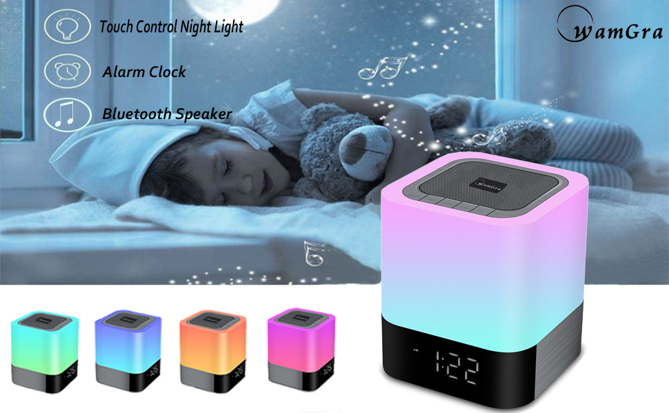alarm clocks for kids color changing speaker bedside clock
