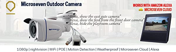 1080P wifi+poe hd outdoor ip camera works with alexa