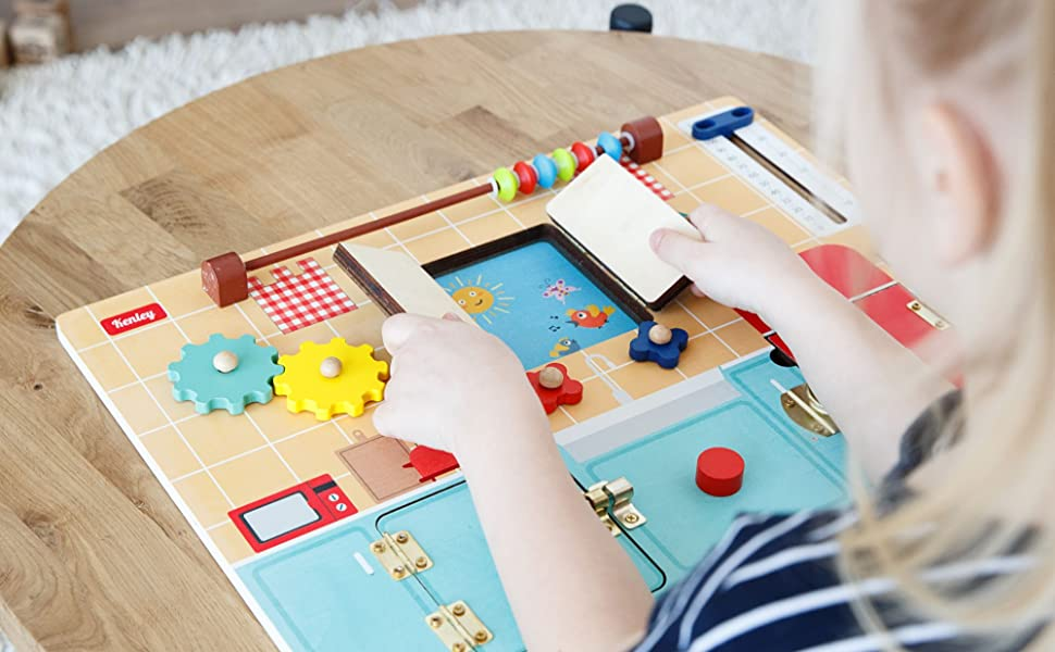 Busy Board for Toddlers Wooden Montessori Activity Board for Fine Motor Skills