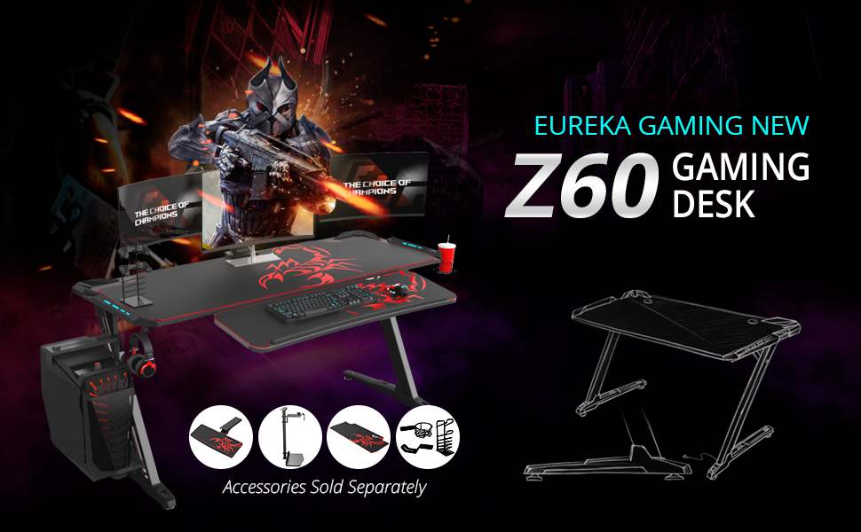Amazon Com Eureka Ergonomic Z60 Gaming Desk 60 Z Shaped