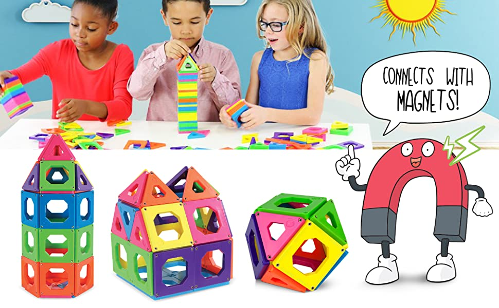 Amazon Com Discovery Kids 24 Piece Best Magnetic Tiles