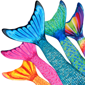 Mermaidens Tail Skins in Tidal Teal, Aussie Green, Rainbow Reef, Malibu Pink, and Tropical Sunrise