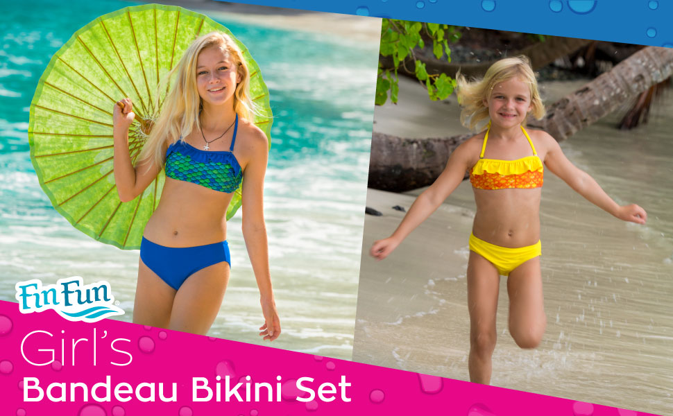 8e8dbf71fa Made from high-quality swimsuit material, our girl's bandeau bikinis  feature a striking mermaid scale pattern in vibrant colors!