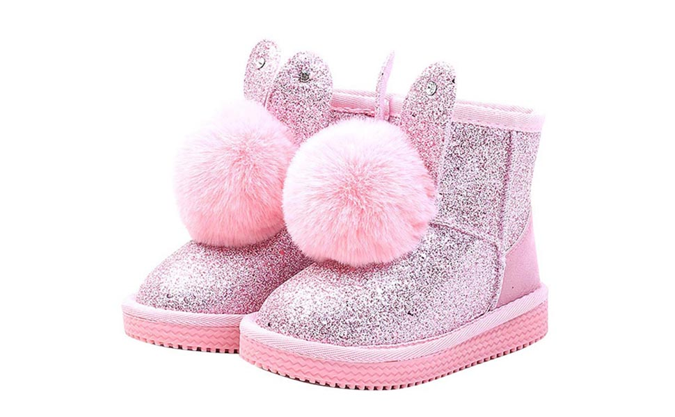 YIBLBOX Girls Warm Winter Waterproof Fashion Sequin Princess Snow Boots Outdoor Cute Bunny Shoes Toddler//Little Kids