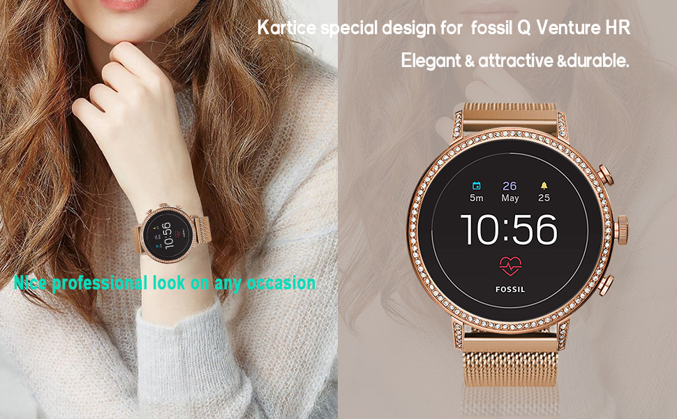 Kartice Compatible with Fossil Gen 4 Q Venture HR Band,18mm Milanese Metal Stainless Steel Mesh Replacement Strap for Fossil Gen 4 Q Venture HR/Gen 3 ...