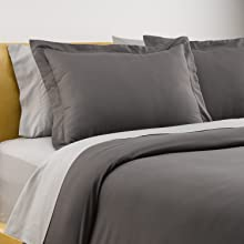 queen duvet cover set dark grey solid