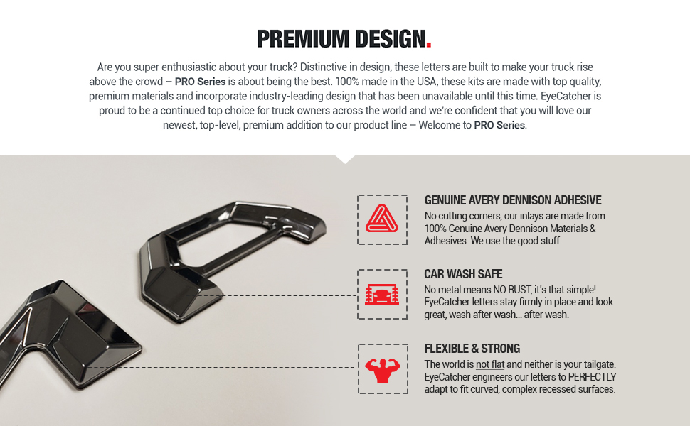 EyeCatcher Pro Series Tailgate Letter Inserts for 2016-2019 Toyota Tacoma Premium Design
