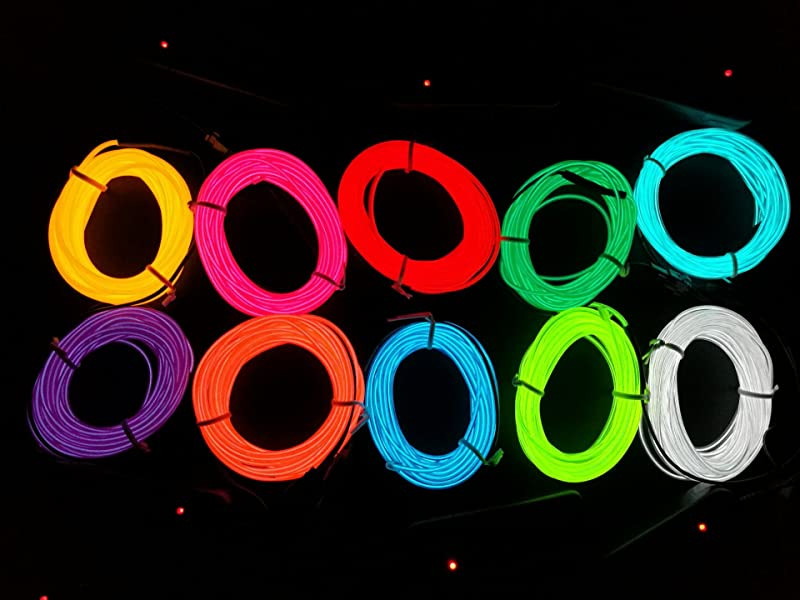 Amazon.com : M.best Flexible LED Neon Light Glow EL Wire Rope tape ...