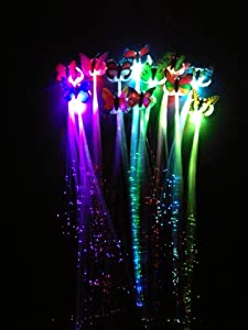 LED Colorful Butterfly Flashing Hair Braid Lights Up Party Hair Wig Supply E8K7
