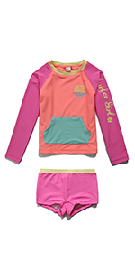 PHIBEE Girls Short Sleeve Rash Guard Set UPF 50 Sun Protection Two-Piece Swimwear Kangya