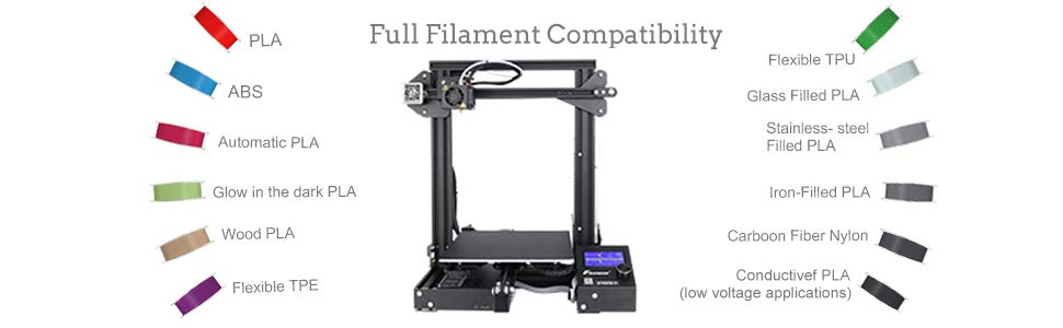 The Creality Ender 3 3D Printer has full filament compatibility.