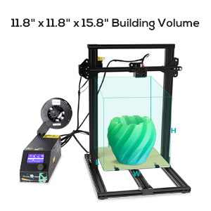 The Creality cr-10 3d printer has large print size 300X300X400mm