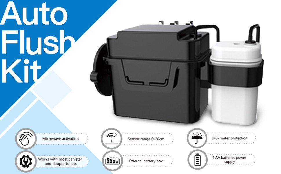 "Battery Operated, 8"" Sence Range, Toolless installation, Automatic Motion Sensor Toilet Flush Kit"