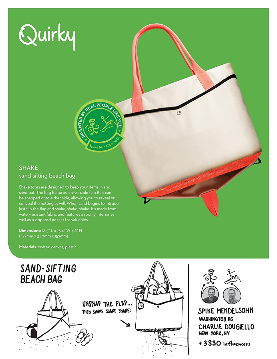 Amazon.com | Quirky Shake Beach Mesh Tote, Large Beach Bag, Sand ...