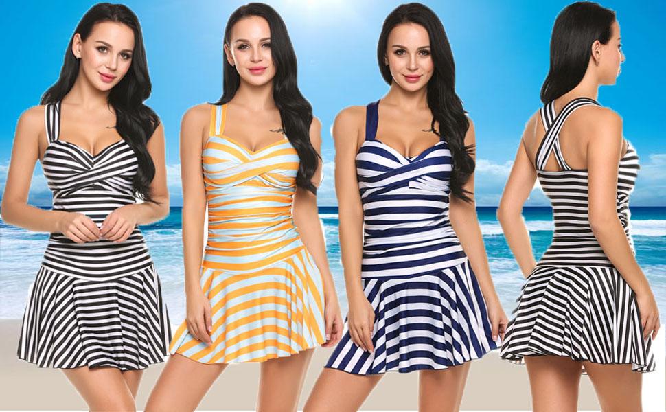bf96a364f1 Avidlove Women's One-Piece Swimsuit Striped Slim Swimwear Padded Swim Dress  Sexy Bikini