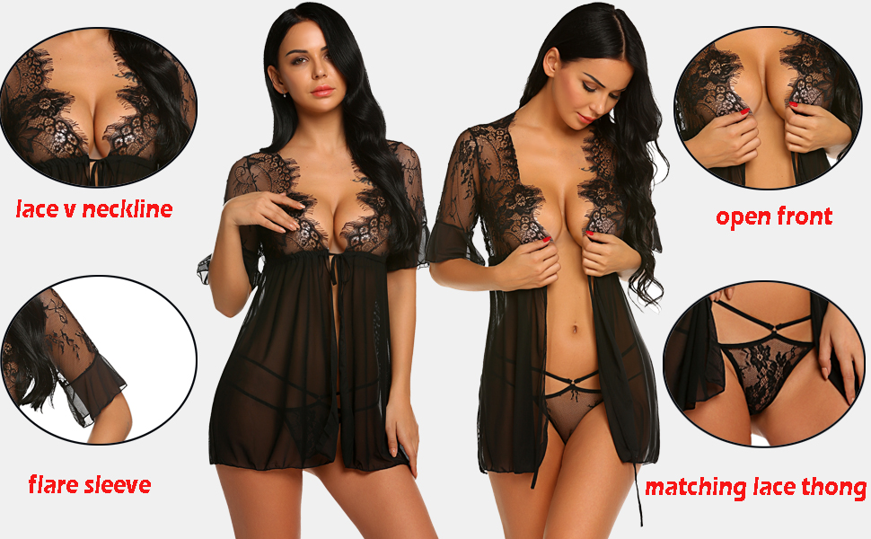 a11e20668a Avidlove Women Lingerie Open Front Babydoll Lace Chemise Sleepwear Sheer  Mesh Robe Clothing, Shoes & Jewelry