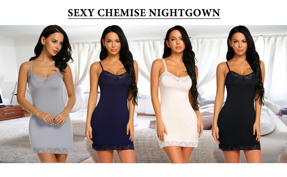 ff9c62d974b3 Avidlove Women Sleepwear Full Slips Strappy Chemises Lace Babydoll Sexy  Nightwear Slip Nightgown