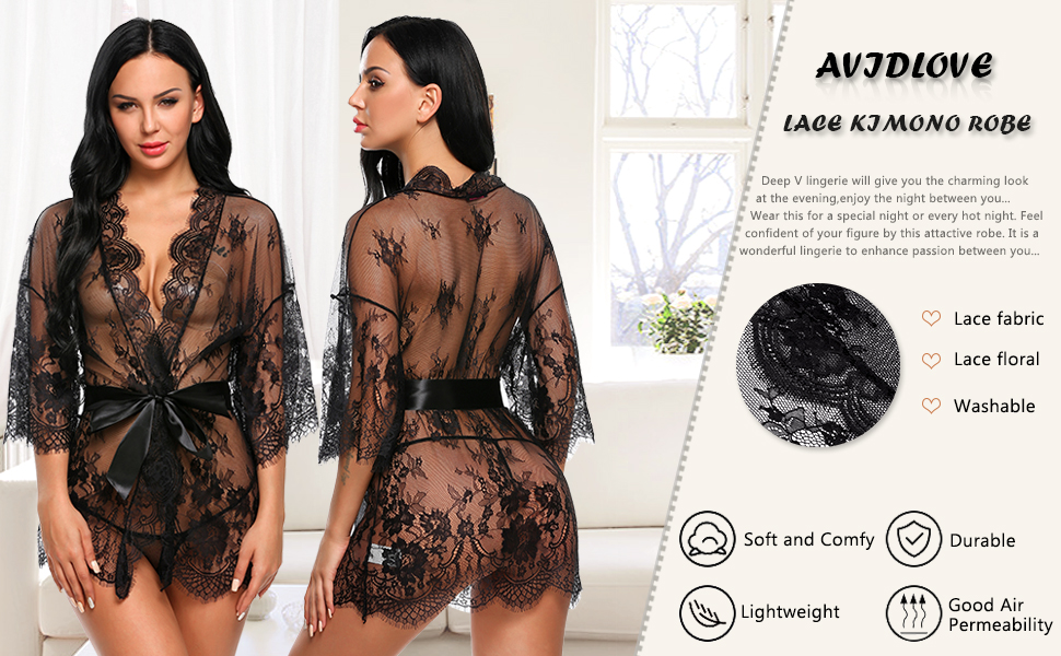 lace lingerie robe