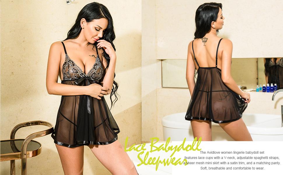 6acc05190fcca Avidlove Women's Lingerie Lace Babydoll Strap Chemise Mesh Sleepwear ...