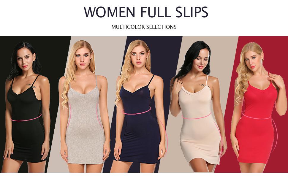 Avidlove Women Modal V Neck Nightwear Sleeveless Straight Dress Mini Full Slips