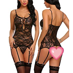 11cb3af53 Avidlove Women Sexy Lace Corset Lingerie Set with Garter Belts Strap Teddy  Bodysuit Babydoll Chemise Nightwear Outfits Black