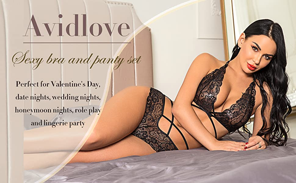 eec0c6b01d Avidlove Sexy Bra and Panty Set Lace Lingerie Strappy Babydoll Bodysuit 2  Piece Outfits