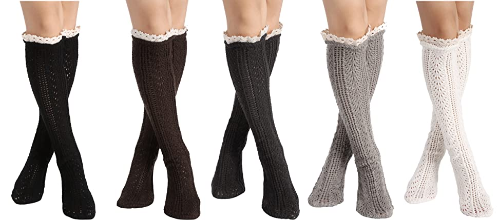 Style 1 Avidlove Women Warm Crochet Boot cover Lace Trim Long Wool Knitted Socks Leg Warmers