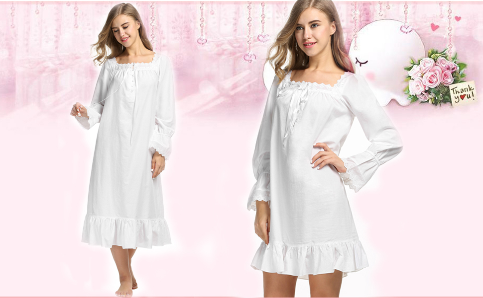 a75e2c579c Avidlove Women s Cotton Long Sleeve Sleepwear Victorian-Style ...