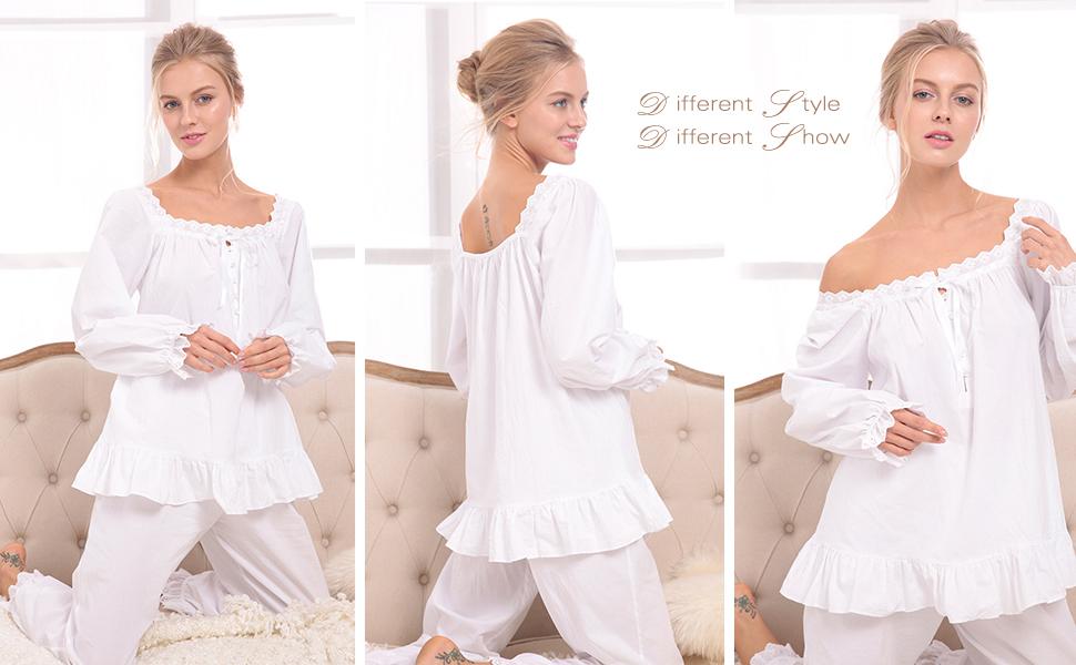6d3006a3c Avidlove Womens Cotton Pjs Victorian Vintage White Long Sleeve ...