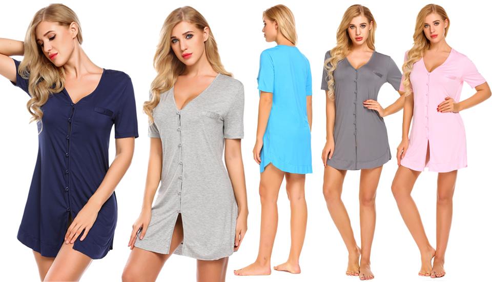 Avidlove Women s Nightshirt Short Sleeve Button Down Nightgown V ... 1213837e9