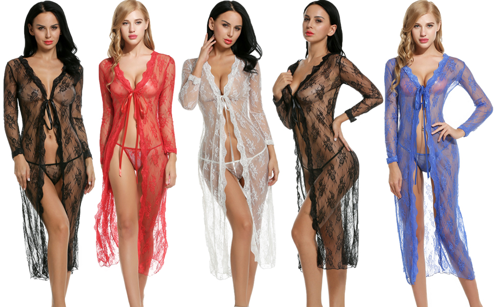 aca1ed9a85 Avidlove Women's Long Lace Robe Chemise Nightgown Sexy Bikini Cover Up See- Thru Nightwear With G-string