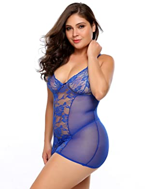 ec4cbe21f23e7 Avidlove Plus Size Women s Sexy Lingerie Stretch Mesh and Stretch Lace  Chemise and Thong Set