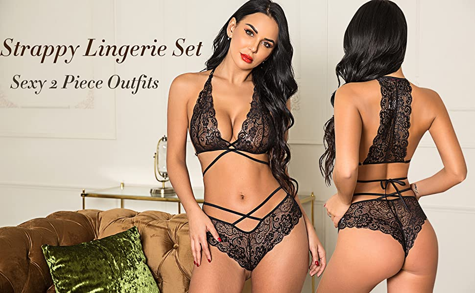 c249ce2d18c Avidlove Sexy Bra and Panty Set Lace Lingerie Strappy Babydoll Bodysuit 2  Piece Outfits. sexy thong